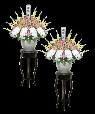 ご親族様用商品供花(一対):重厚感ある壷花タイプ